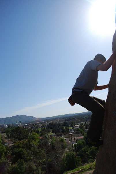 Rock Climbing Photo: Bill climbing on an unknown boulder problem soemwh...