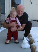 Rock Climbing Photo: Grandpa making Natalie a snowman.