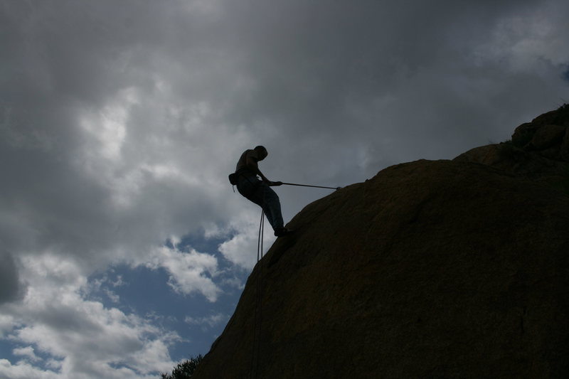 Rock Climbing Photo: Nathan rapping down after setting up our toprope. ...