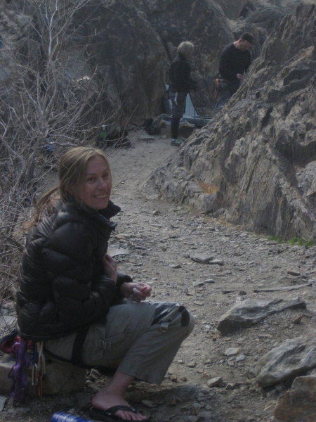 Rock Climbing Photo: Noelle, keeping warm after a climb