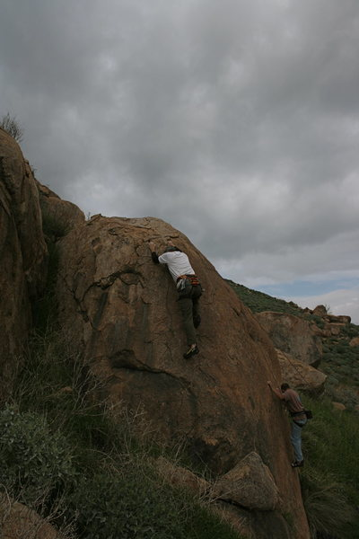 Rock Climbing Photo: Me doing the easier problem on the left side, with...