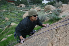 Rock Climbing Photo: Al working on the harder toperope section.  This b...