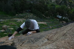 Rock Climbing Photo: Me getting to some better holds on the harder tope...