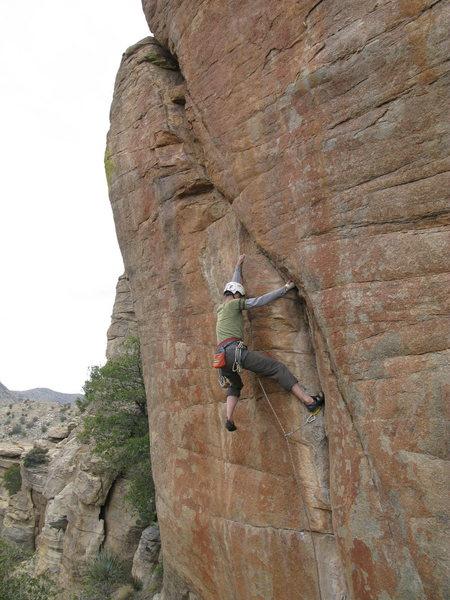 Jesse hiking 'Red Dwarf' 5.12 trad