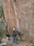 Rock Climbing Photo: Jesse starting up 'Red Dwarf' 5.12 with Jimbo spot...