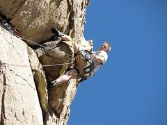 Rock Climbing Photo: Very cool heal hook after 2nd pitch crux!