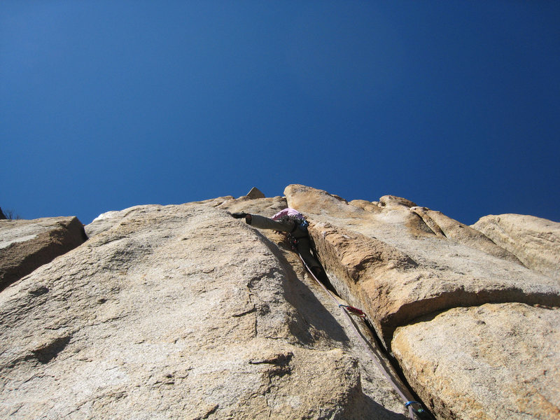 Rock Climbing Photo: Exiting the offwidth section.