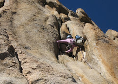 Rock Climbing Photo: Pro'ing up the bombay crux  November 2009