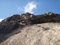 Rock Climbing Photo: Looking up the upper slab to the top chunky stuff