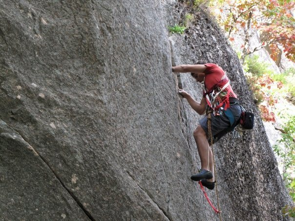 Rock Climbing Photo: Charlie working the finger cracks.