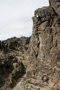 Rock Climbing Photo: At the upper crux on Candy O (5.11b), New Jack Cit...