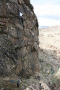 Rock Climbing Photo: Clipping near the top of Vertigo (5.11a), New Jack...