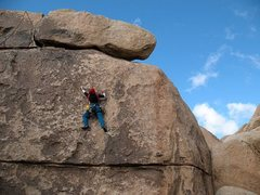 Rock Climbing Photo: Moving up to the last bolt on Doomsday (5.9), Josh...