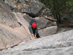 Rock Climbing Photo: working up the upper crack