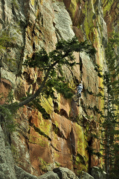 Eldorado Canyon, Fox Trot 11d<br> Climber unknown