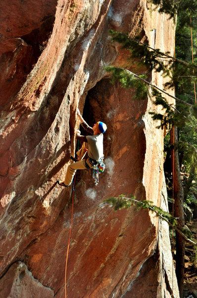 "Rock Climbing Photo: Joe sending ""Surf's Up""."
