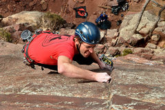 "Rock Climbing Photo: Adam on ""Iron Horse""  That's thin!"