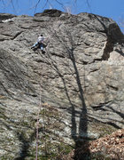 Rock Climbing Photo: Jakob working out the moves up on the crux...