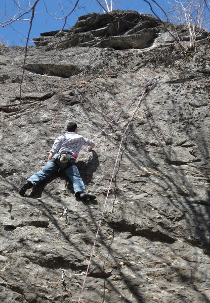 Rock Climbing Photo: closer shot of jakob on the steeper upper section ...