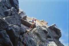 Rock Climbing Photo: Leading up Bayonet Crack, 5.9+