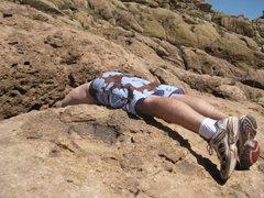 Rock Climbing Photo: Man eating cracks