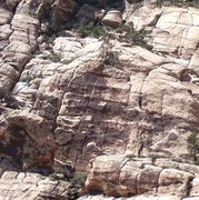 Rock Climbing Photo: Closer view of the wall.  The route goes up the cr...