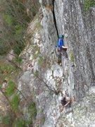 Rock Climbing Photo: Garth leading the 2nd pitch.