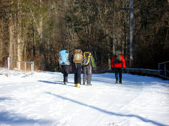 Rock Climbing Photo: The gang walking down the access road to get to Si...