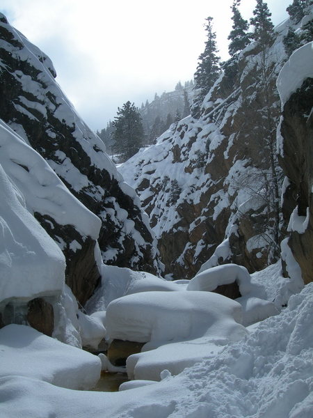 Looking upstream towards the downclimb.