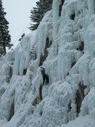 Rock Climbing Photo: Deb finishing the lower, short pillar.