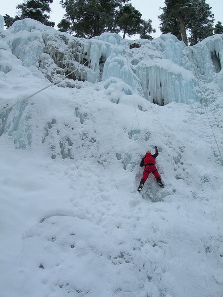 Rock Climbing Photo: Simon clearing off the snow for the rest of us.