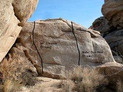 Rock Climbing Photo: Photo/topo for the Creosote Wall, Joshua Tree NP