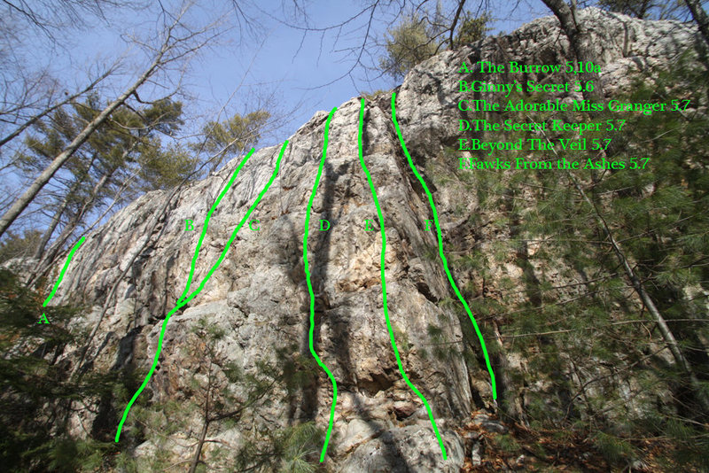 Rock Climbing Photo: Map of the left side of Grimauld...
