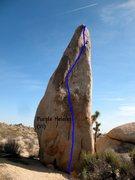 Rock Climbing Photo: Purple Helmet (V1), Joshua Tree NP