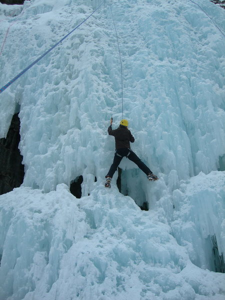 Rock Climbing Photo: Monika whooping it up on her first ice day ever.