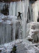 Rock Climbing Photo: Tanya Chupa climbing Silver Sheet (WI4- Delaware W...