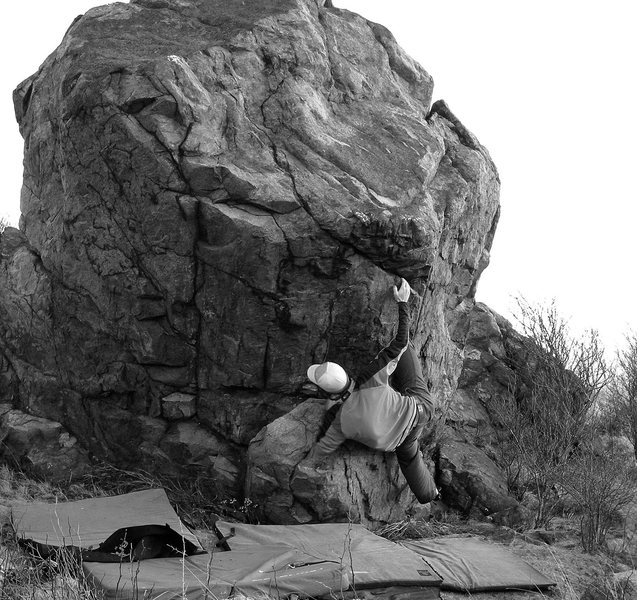 Rock Climbing Photo: The start to foot Kapput, (v-4), in the Highland A...