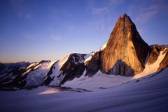 Rock Climbing Photo: Early sun-hit on Snowpatch's east face. Photo by M...