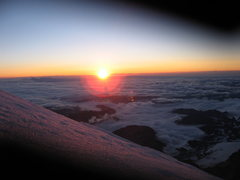 Rock Climbing Photo: High on the DC route at sunrise, almost to the sum...
