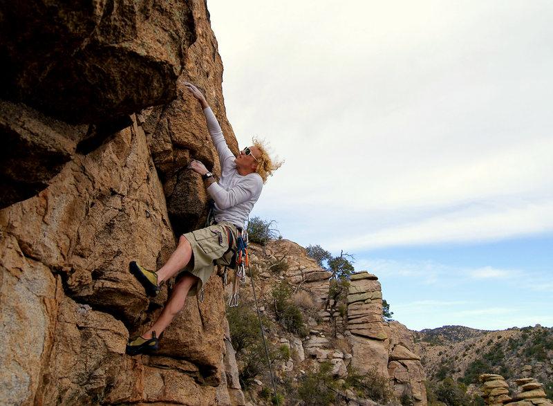 Rock Climbing Photo: Caleb pulling over the bulge