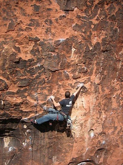 Without good technique this move may feel a bit reachy, However, Amos really rocked this climb!