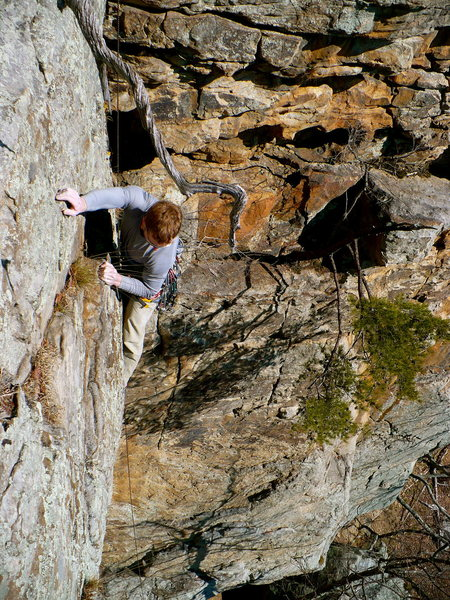Rock Climbing Photo: Mike pulling the final roof on Changnurdle, T-Wall...