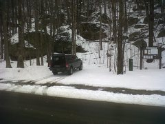 Rock Climbing Photo: Ford Ranger. Black. At Rumney. Before a great day ...