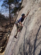 Rock Climbing Photo: Thin moves above first bolt.