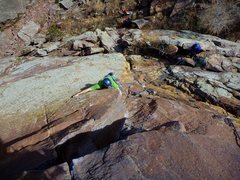 Rock Climbing Photo: Pulling of Genesis and into the first seam on Trin...