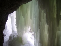 Rock Climbing Photo: Inside the ice cave behind the Spiral Staircase.  ...