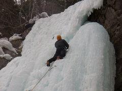 Rock Climbing Photo: Brad White near the Top of the Designator.  Vail C...