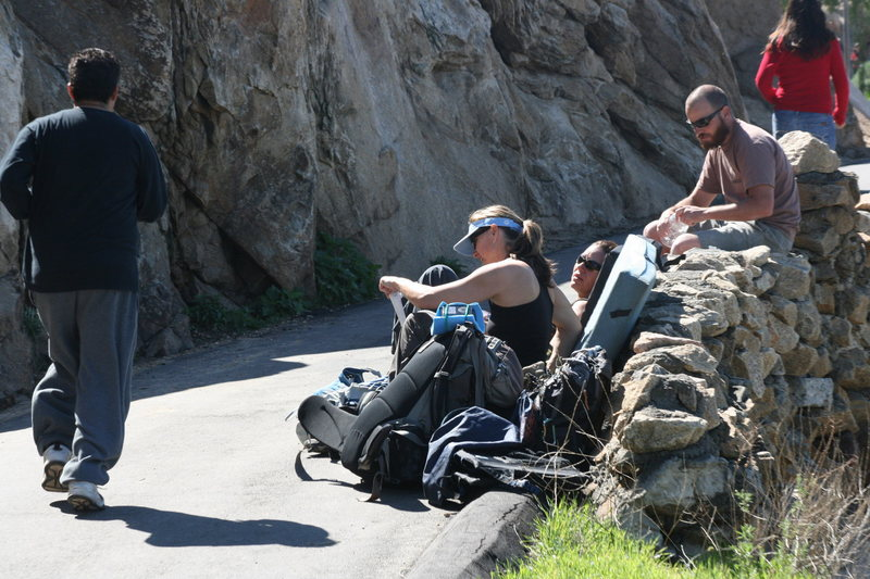Rock Climbing Photo: Waiting in the sun for their turn. Noelle, Agina a...