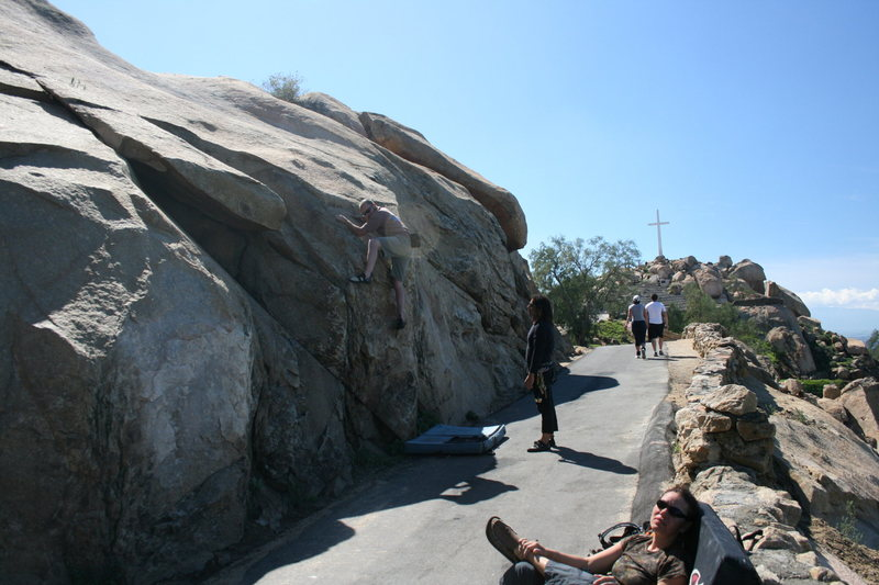 Bouldering along the road while waiting. 2-28-10