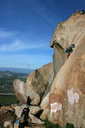 Rock Climbing Photo: Albert high up on Smooth Sole Direct with RastaRaj...